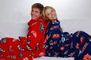 Even the cold blood of a rivalry can't penetrate the Snuggie!