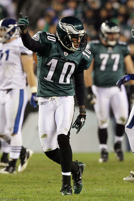 PHILADELPHIA - NOVEMBER 07:  DeSean Jackson #10 of the Philadelphia Eagles celebrates a first down against the Indianapolis Colts during the fourth quarter on November 7, 2010 at Lincoln Financial Field in Philadelphia, Pennsylvania. The Eagles defeated t