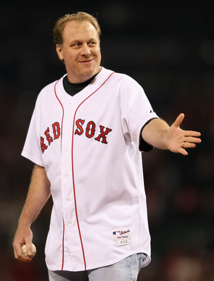 BOSTON - OCTOBER 16:  Curt Schilling of the Boston Red Sox throws out the first pitch of game five of the American League Championship Series against the Tampa Bay Rays during the 2008 MLB playoffs at Fenway Park on October 16, 2008 in Boston, Massachuset