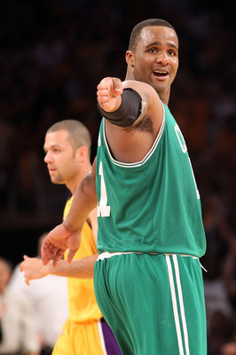 LOS ANGELES, CA - JUNE 17:  Glen Davis #11 of the Boston Celtics reacts to a call in the second half against the Los Angeles Lakers in Game Seven of the 2010 NBA Finals at Staples Center on June 17, 2010 in Los Angeles, California.  NOTE TO USER: User exp