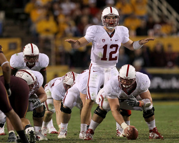 TEMPE, AZ - NOVEMBER 13:  Quarterback Andrew Luck #12 of the Stanford Cardinal calls signals against the Arizona State Sun Devils at Sun Devil Stadium on November 13, 2010 in Tempe, Arizona.The Cardinal won 17-13.  (Photo by Stephen Dunn/Getty Images)