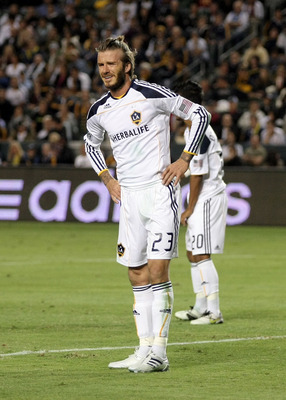 CARSON, CA - NOVEMBER 14:  David Beckham #23 of the Los Angeles Galaxy grimaces prior to an FC Dallas corner kick during the Western Conference Finals match of the MLS playoffs at The Home Depot Center on November 14, 2010 in Carson, California. FC Dallas