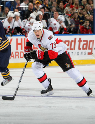 BUFFALO - OCTOBER 22:  Jarkko Ruutu #73 of the Ottawa Senators skates against the Buffalo Sabres during their NHL game at HSBC Arena October 22, 2010 in Buffalo, New York.(Photo By Dave Sandford/Getty Images)
