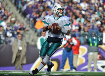 BALTIMORE, MD - NOVEMBER 7:  Chad Henne #7 of the Miami Dolphins looks for a receiver during the game against the Baltimore Ravens at M&T Bank Stadium on November 7, 2010 in Baltimore, Maryland. The Ravens defeated the Dolphins 26-10. (Photo by Larry Fren