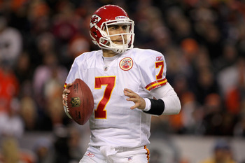 DENVER - NOVEMBER 14:  Quarterback Matt Cassel #7 of the Kansas City Chiefs drops back to pass against the Denver Bronco at INVESCO Field at Mile High on November 14, 2010 in Denver, Colorado. The Broncos defeated the Chiefs 49-29.  (Photo by Doug Pensing