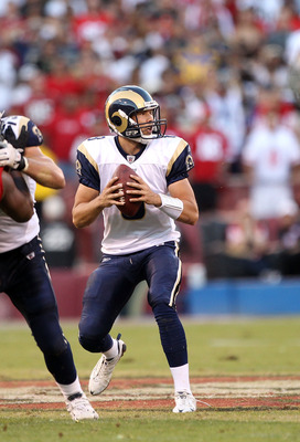 SAN FRANCISCO - NOVEMBER 14:  Sam Bradford #8  of the St. Louis Rams in action against the San Francisco 49ers at Candlestick Park on November 14, 2010 in San Francisco, California.  (Photo by Ezra Shaw/Getty Images)