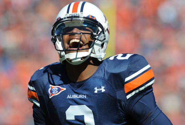 AUBURN, AL - NOVEMBER 6:  Quarterback Cam Newton #2 of the Auburn Tigers yells after running for a touchdown against the Chattanooga Mocs November 6, 2010 at Jordan-Hare Stadium in Auburn, Alabama.  (Photo by Al Messerschmidt/Getty Images)