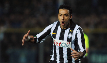 BRESCIA, ITALY - NOVEMBER 10:  Fabio Quagliarella of Juventus FC celebrates after scoring the opening goal during the Serie A match between Brescia Calcio and Juventus FC at Mario Rigamonti Stadium on November 10, 2010 in Brescia, Italy.  (Photo by Valeri