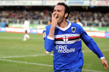 CESENA, ITALY - OCTOBER 31:  Giampaolo Pazzini of Sampdoria gestures after scoring during the Serie A match between Cesena and Sampdoria at Dino Manuzzi Stadium on October 31, 2010 in Cesena, Italy.  (Photo by Roberto Serra/Getty Images)