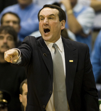 CHAPEL HILL, NC - FEBRUARY 10: Duke head coach Mike Krzyzewski argues a call against North Carolina during a men's college basketball game at Dean Smith Center on February 10, 2010 in Chapel Hill, North Carolina. (Photo by Chris Keane/Getty Images)