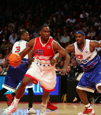 Elton Brand against Lebron James in an All Star game