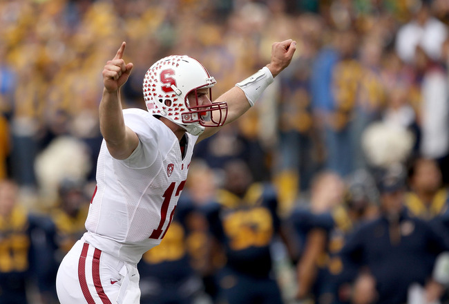 BERKELEY, CA - NOVEMBER 20:  Andrew Luck #12 of the Stanford Cardinal celebrates after the Cardinal scored a touchdown against the California Golden Bears at California Memorial Stadium on November 20, 2010 in Berkeley, California.  (Photo by Ezra Shaw/Ge