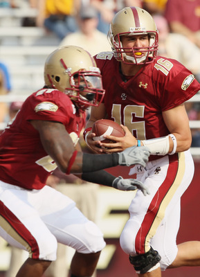 CHESTNUT HILL, MA - SEPTEMBER 25:  Mike Marscovetra #16 of the Boston College Eagles fakes the handoff in the fourth quarter against the Virginia Tech Hokies on September 25, 2010 at Alumni Stadium in Chestnut Hill, Massachusetts. Virginia Tech defeated B