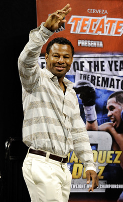 LAS VEGAS - JULY 30:  Boxer Shane Mosley appears during the official weigh-in for WBA/WBO lightweight champion Juan Manuel Marquez and Juan Diaz at the Mandalay Bay Events Center July 30, 2010 in Las Vegas, Nevada. Marquez will defend his titles against D