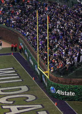 CHICAGO - NOVEMBER 20: A general view of the east end zone along the right field wall which was ruled to be unsafe for players before the Northwestern Wildcats took on the Illinois Fighting Illini during a game played at Wrigley Field on November 20, 2010