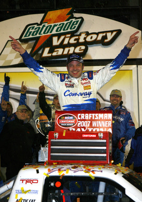 DAYTONA, FL - FEBRUARY 16:  Jack Sprague, driver of the #60 Con-Way Freight Toyota, celebrates in victory lane after winning the NASCAR Craftsman Truck Series Chevy Silverado HD 250 at Daytona International Speedway on February 16, 2007 in Daytona, Florid