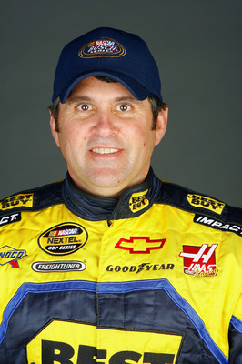 DAYTONA, FL - FEBRUARY 08:  Jeff Green, driver of the #66 Best Buy Chevrolet, poses during the NASCAR media day at Daytona International Speedway on February 8, 2007 in Daytona, Florida.  (Photo by Rusty Jarrett/Getty Images for NASCAR)