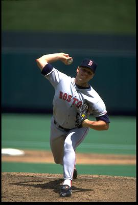 9 May 1992: BOSTON RED SOX PITCHER ROGER CLEMENS WINDS UP TO PITCH DURING THE RED SOX VERSUS KANSAS CITY ROYALS GAME AT ROYALS STADIUM IN KANSAS CITY, MISSOURI.