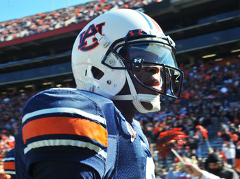 AUBURN, AL - NOVEMBER 06:  Quarterback Cam Newton #2 of the Auburn Tigers leaves the field after play against the Chattanooga Mocs November 6, 2010 at Jordan-Hare Stadium in Auburn, Alabama.  (Photo by Al Messerschmidt/Getty Images)