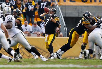 PITTSBURGH - NOVEMBER 21:  Ben Roethlisberger #7 of the Pittsburgh Steelers drops back to pass against the Oakland Raiders during the game on November 21, 2010 at Heinz Field in Pittsburgh, Pennsylvania.  (Photo by Jared Wickerham/Getty Images)