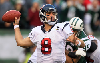 EAST RUTHERFORD, NJ - NOVEMBER 21:  Matt Schaub #8 of the Houston Texans throws against the New York Jets on November 21, 2010 at the New Meadowlands Stadium in East Rutherford, New Jersey.  (Photo by Jim McIsaac/Getty Images)