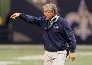 NEW ORLEANS - NOVEMBER 21:  Head coach Pete Carroll of the Seattle Seahawks points to his offense during the game against the New Orleans Saints at Louisiana Superdome on November 21, 2010 in New Orleans, Louisiana.  (Photo by Kevin C. Cox/Getty Images)