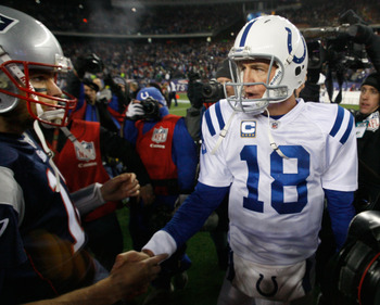 FOXBORO, MA - NOVERMBER 21:  Tom Brady #12 of the New England Patriots shakes hands with Peyton Manning #18 of the Indianapolis Colts after their game at Gillette Stadium on November 21, 2010 in Foxboro, Massachusetts. (Photo by Jim Rogash/Getty Images)