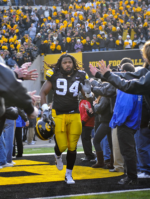 IOWA CITY, IA - NOVEMBER 20:  Defensive end Adrian Clayborn #94 of the University of Iowa Hawkeyes takes the field for the Ohio State Buckeyes NCAA college football game at Kinnick Stadium on November 20, 2010 in Iowa City, Iowa. Ohio State won 20-17 over