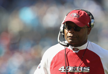 CHARLOTTE, NC - OCTOBER 24:  Head coach Mike Singletary of the San Francisco 49ers watches on against the Carolina Panthers during their game at Bank of America Stadium on October 24, 2010 in Charlotte, North Carolina.  (Photo by Streeter Lecka/Getty Imag