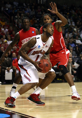 SPOKANE, WA - MARCH 19:  Sean Coleman #1 of the Maryland Terrapins drives against Maurice McNeil #3 of the Houston Cougars during the first round of the 2010 NCAA menÕs basketball tournament at Spokane Arena on March 19, 2010 in Spokane, Washington.  (Pho