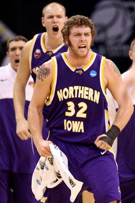 OKLAHOMA CITY - MARCH 20:  Lucas O'Rear #32 and Jordan Eglseder #53 of the Northern Iowa Panthers reacts against the Kansas Jayhawks during the second round of the 2010 NCAA men's basketball tournament at Ford Center on March 20, 2010 in Oklahoma City, Ok