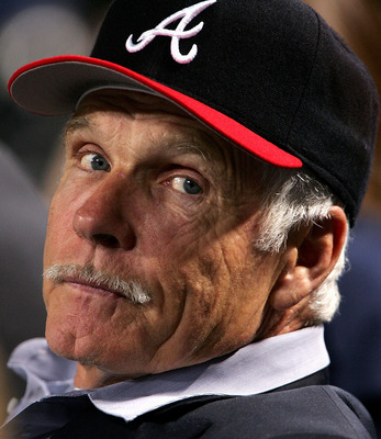 ATLANTA - OCTOBER 11:  Ted Turner, former owner of the Atlanta Braves, watches game five of the National League Division Series against the Houston Rockets on October 11, 2004 at Turner Field in Atlanta, Georgia.  (Photo by Doug Pensinger/Getty Images)