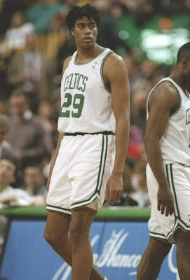 1 Dec 1995:  Center Pervis Ellison of the Boston Celtics stands on the court during a game against the New Jersey Nets at the Fleet Center in Boston, Massachusetts.  The Nets won the game 131-123. Mandatory Credit: Allsport  /Allsport