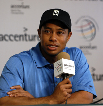 UNITED STATES - FEBRUARY 20:  Tiger Woods speaks at a press conference after his practice round on Wednesday for the WGC-Accenture Match Play Championship at The Gallery at Dove Mountain in Tucson, Arizona, on February 20, 2007.  (Photo by Steve Grayson/G