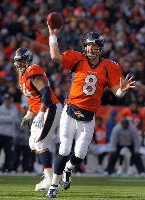 DENVER - NOVEMBER 14:  Quarterback Kyle Orton #8 of the Denver Broncos rolls out and delivers a pass against the Kansas City Chiefs in the first quarter at INVESCO Field at Mile High on November 14, 2010 in Denver, Colorado. The Broncos defeated the Chief