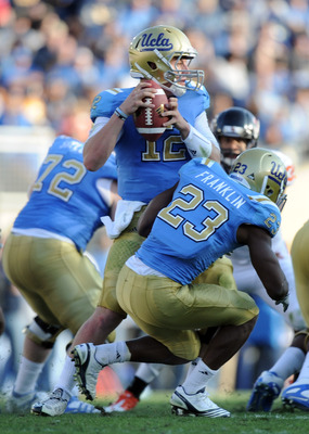 PASADENA, CA - NOVEMBER 06:  Richard Brehaut #12 of the UCLA Bruins in the pocket against the Oregon State Beavers at the Rose Bowl on November 6, 2010 in Pasadena, California.  (Photo by Harry How/Getty Images)