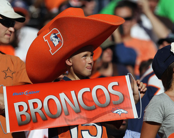 DENVER - SEPTEMBER 19:  A young fan of the Denver Broncos supports the team against the Seattle Seahawks at INVESCO Field at Mile High on September 19, 2010 in Denver, Colorado. The Broncos defeated the Seahawks 31-14.  (Photo by Doug Pensinger/Getty Imag