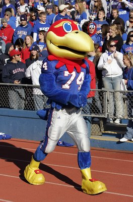 LAWRENCE, KS - NOVEMBER 18:  Mascot of the Kansas Jayhawks walks to the field during the game against the Kansas State Wildcats on November 18, 2006 at Memorial Stadium in Lawrence, Kansas.  Kansas won 39-20.  (Photo by Brian Bahr/Getty Images)