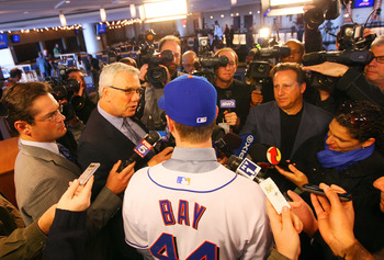 NEW YORK - JANUARY 05:  Jason Bay talks to the media during a press conference to announce his signing to the New York Mets on January 5, 2010 at Citi Field in the Flushing neighborhood of the Queens borough of New York City.  (Photo by Mike Stobe/Getty I