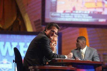 NEW YORK - APRIL 28:  Mel Kiper, Chris Mortensen and Keyshawn Johnson broadcast for ESPN during the 2007 NFL Draft on April 28, 2007 at Radio City Music Hall in New York, New York. (Photo by Chris McGrath/Getty Images)