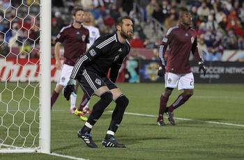 COMMERCE CITY, CO - NOVEMBER 13:  Goalkeeper Matt Pickens #18 of the Colorado Rapids defends the goal against the San Jose Earthquakes in the MLS Eastern Conference Final at Dick's Sporting Goods Park on November 13, 2010 in Commerce City, Colorado. The R