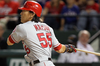 ARLINGTON, TX - OCTOBER 01:  Designated hitter Hideki Matsui #55 of the Los Angeles Angels of Anaheim singles in the 9th inning against the Texas Rangers at Rangers Ballpark in Arlington on October 1, 2010 in Arlington, Texas.  (Photo by Ronald Martinez/G