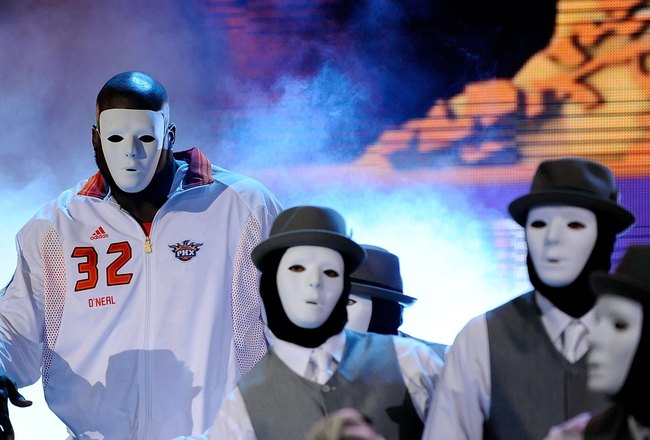 PHOENIX - FEBRUARY 15:  Shaquille O'Neal #32 of the Western Conference dances with the Jabbawockeez as he is introduced before the start of the 58th NBA All-Star Game, part of 2009 NBA All-Star Weekend at US Airways Center on February 15, 2009 in Phoenix,