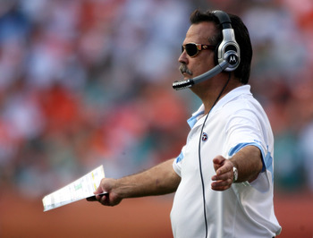 MIAMI - NOVEMBER 14:  Coach Jeff Fisher of the Tennessee Titans shouts against the Miami Dolphins at Sun Life Stadium on November 14, 2010 in Miami, Florida.  (Photo by Marc Serota/Getty Images)