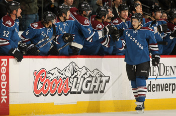 DENVER - NOVEMBER 19:  Kevin Shattenkirk #8 of the Colorado Avalanche is congratulated by his teammates for his second period goal against the New York Rangers at the Pepsi Center on November 19, 2010 in Denver, Colorado.  (Photo by Doug Pensinger/Getty I