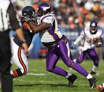 CHICAGO - NOVEMBER 14: Pat Williams #94 of the Minnesota Vikings works against Brandon Manumaleuna #86 of the Chicago Bears at Soldier Field on November 14, 2010 in Chicago, Illinois. The Bears defeated the Vikings 27-13. (Photo by Jonathan Daniel/Getty I