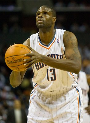 CHARLOTTE, NC - APRIL 26: Nazr Mohammed #13 of the Charlotte Bobcats attempts a free throw against the Orlando Magic at Time Warner Cable Arena on April 26, 2010 in Charlotte, North Carolina.  The Magic defeated the Bobcats 99-90 to complete the four game