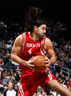 ATLANTA - NOVEMBER 20:  Luis Scola #4 of the Houston Rockets against the Atlanta Hawks at Philips Arena on November 20, 2009 in Atlanta, Georgia.  NOTE TO USER: User expressly acknowledges and agrees that, by downloading and/or using this Photograph, User
