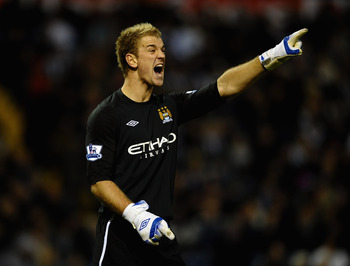 WEST BROMWICH, ENGLAND - NOVEMBER 07:  Joe Hart of Manchester City in action during the Barclays Premier League match between West Bromwich Albion and Manchester City at The Hawthorns on November 7, 2010 in West Bromwich, England.  (Photo by Laurence Grif