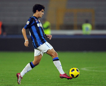 LECCE, ITALY - NOVEMBER 10:  Coutinho of Inter Milan in action during the Serie A match between Lecce and Inter Milan at Stadio Via del Mare on November 10, 2010 in Lecce, Italy.  (Photo by Giuseppe Bellini/Getty Images)